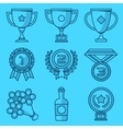 Trophy and awards Blue lines and shadows icon vector image