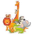 wild animals posing together vector image vector image