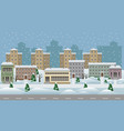 winter cityscape cartoon background vector image