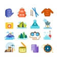 Winter hiking flat icons set vector image vector image