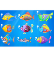 A sea with a school of colourful fishes vector image vector image
