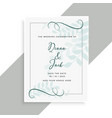 beautiful wedding card design with leaves pattern vector image