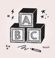 black abstract kids abc stacked toy cubes