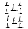 Black and white old lighthouses isolated on white vector image