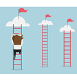 businessman climbing the ladder for red flag vector image vector image
