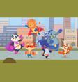 city superhero animals urban landscape with vector image