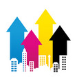 Cmyk cityscape property rise up arrow lines