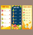 colorful natural juices menu template vector image