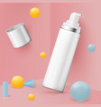 corner wall abstract scene mousse bottle vector image vector image