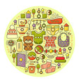 cute colorful baby icon circle backgroun vector image vector image
