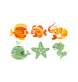 cute friendly sea creatures set underwater vector image