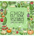 different vegetables drawings vector image