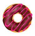 donut with icing icon chocolate pastry doughnut vector image