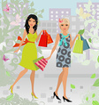 fashion young women with purchase in city for your vector image vector image