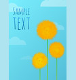 floral background with yellow dandelions clouds vector image