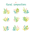 Flowers and leaves compositions collection vector image vector image