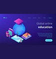 global online education isometric 3d landing page vector image vector image