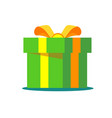 green gift box with ribbon and bow vector image