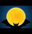 halloween flying bat and moon vector image vector image
