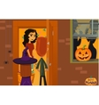 Halloween party Children collect candy Night of vector image vector image