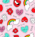 Hand drawn valentines patch icons seamless pattern vector image vector image