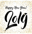 Happy new year 2019 lettering phrase on white