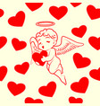 hearts and cupid seamless pattern vector image vector image