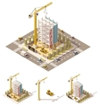isometric low poly construction site vector image vector image
