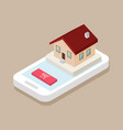 isometric shop house on the mobile phone vector image vector image