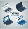 laptop isometric icons set vector image vector image