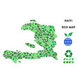 leaf green composition haiti map vector image vector image