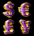 main currency signs vector image vector image
