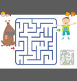 maze game with boy and dog vector image vector image