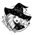 monochrome cute witch wearing hat with stars vector image