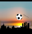moscow skyline with football ball vector image vector image