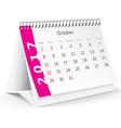 October 2017 desk calendar - vector image vector image