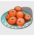 pile tangerines on a plate vector image