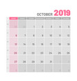 practical light-colored planner 2019 october vector image vector image