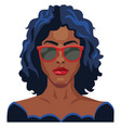 pretty girl with blue hair and glasses on white vector image