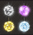 realistic shiny disco ball set bright round vector image