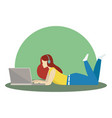 relaxing girl lying and working on vector image