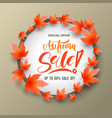 sale circle banner with maples vector image