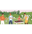 scene people at outdoor barbecue party man vector image vector image