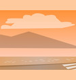 seashore in evening street and mountains sea vector image vector image