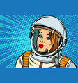 serious woman astronaut vector image vector image