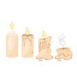 set candles in different stages burning vector image