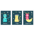set cat astrology zodiac sign cards vector image vector image