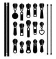 set different zippers vector image