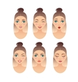 set of girl faces with different expressions vector image vector image