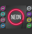 set of neon round frames on transparent background vector image vector image